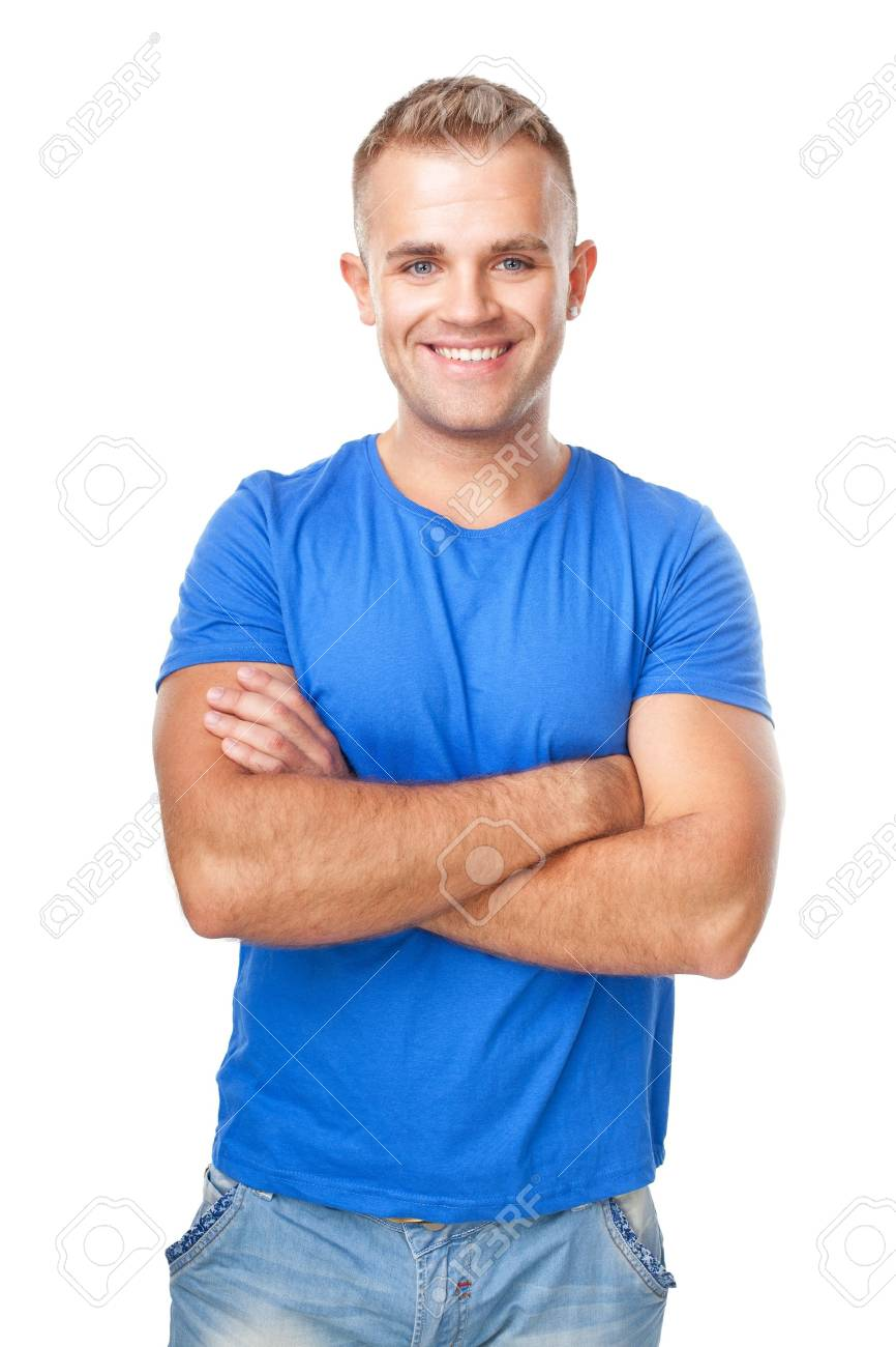 Portrait of happy smiling man standing with hands folded against isolated on white background Stock Photo - 22003598