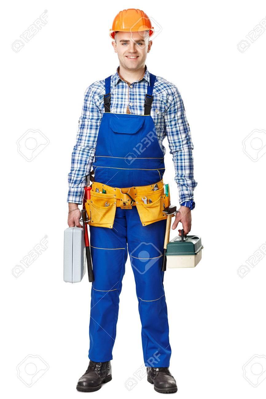 2452fc949849 Portrait En Pied De Jeune Travailleur De La Construction De Sexe Masculin  Avec Des Boîtes à Outils Portant Des Vêtements De Protection, Le Casque Et  La ...