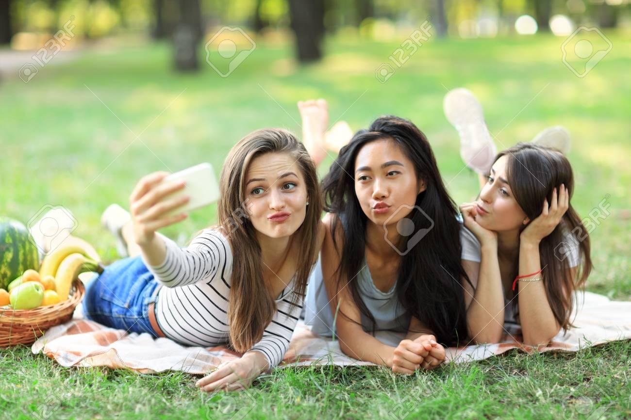 Facial young teen girl selfie