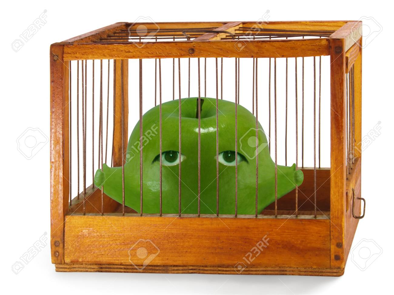 Apple, prisoner in the cage made of wood with iron rods, isolated Stock Photo - 7237646