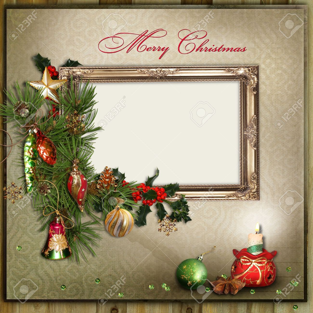 Christmas Card Frame.Christmas Greeting Card With Frame For A Family