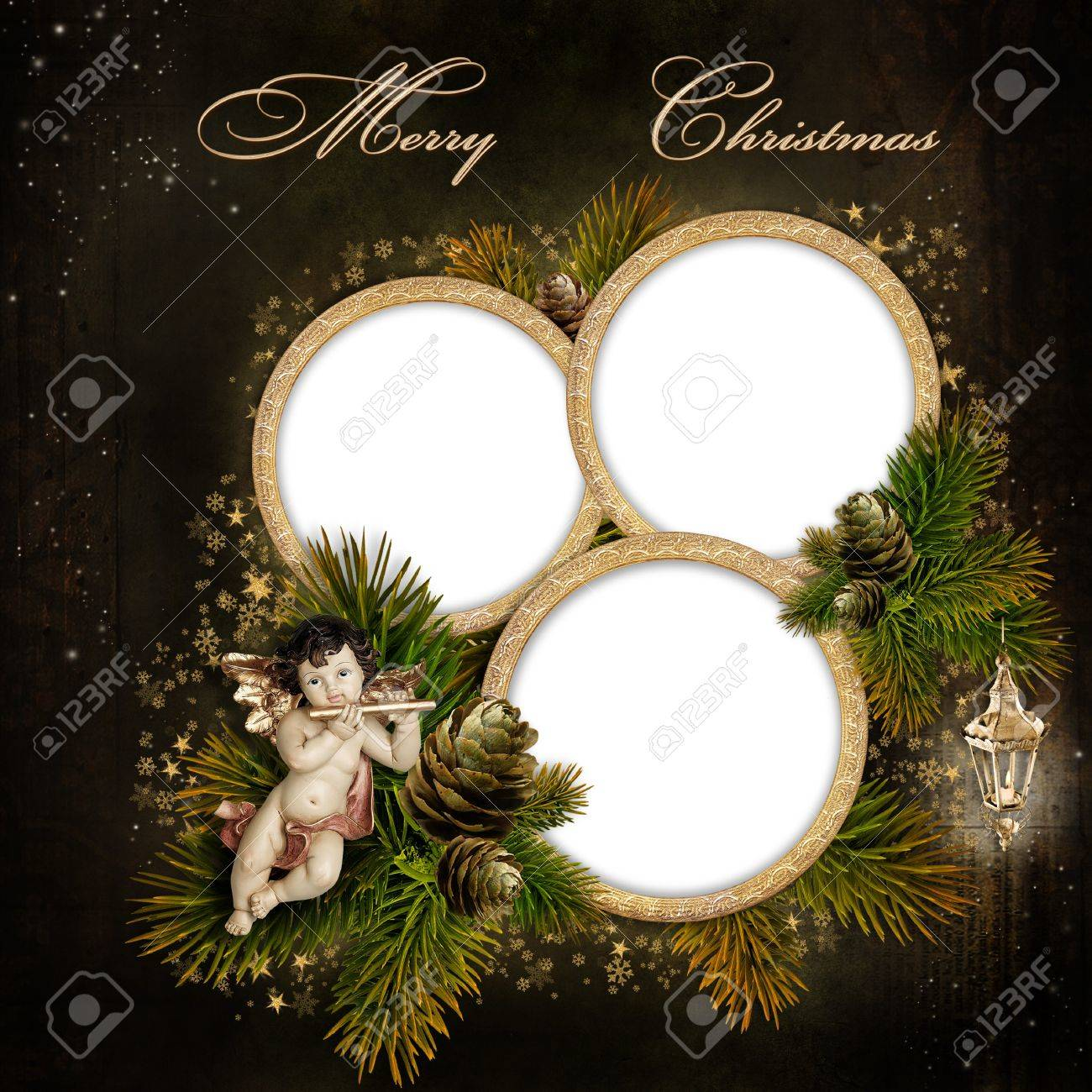 Tarjeta De Felicitación De La Navidad Con El Marco Para Una Familia ...