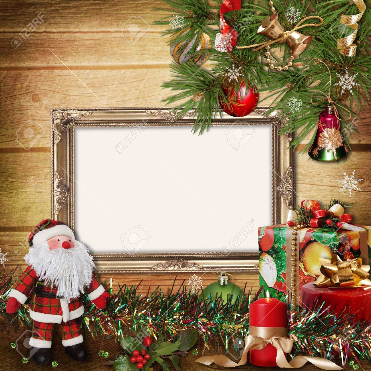 Christmas Greeting Card With Frames For A Family Stock Photo ...