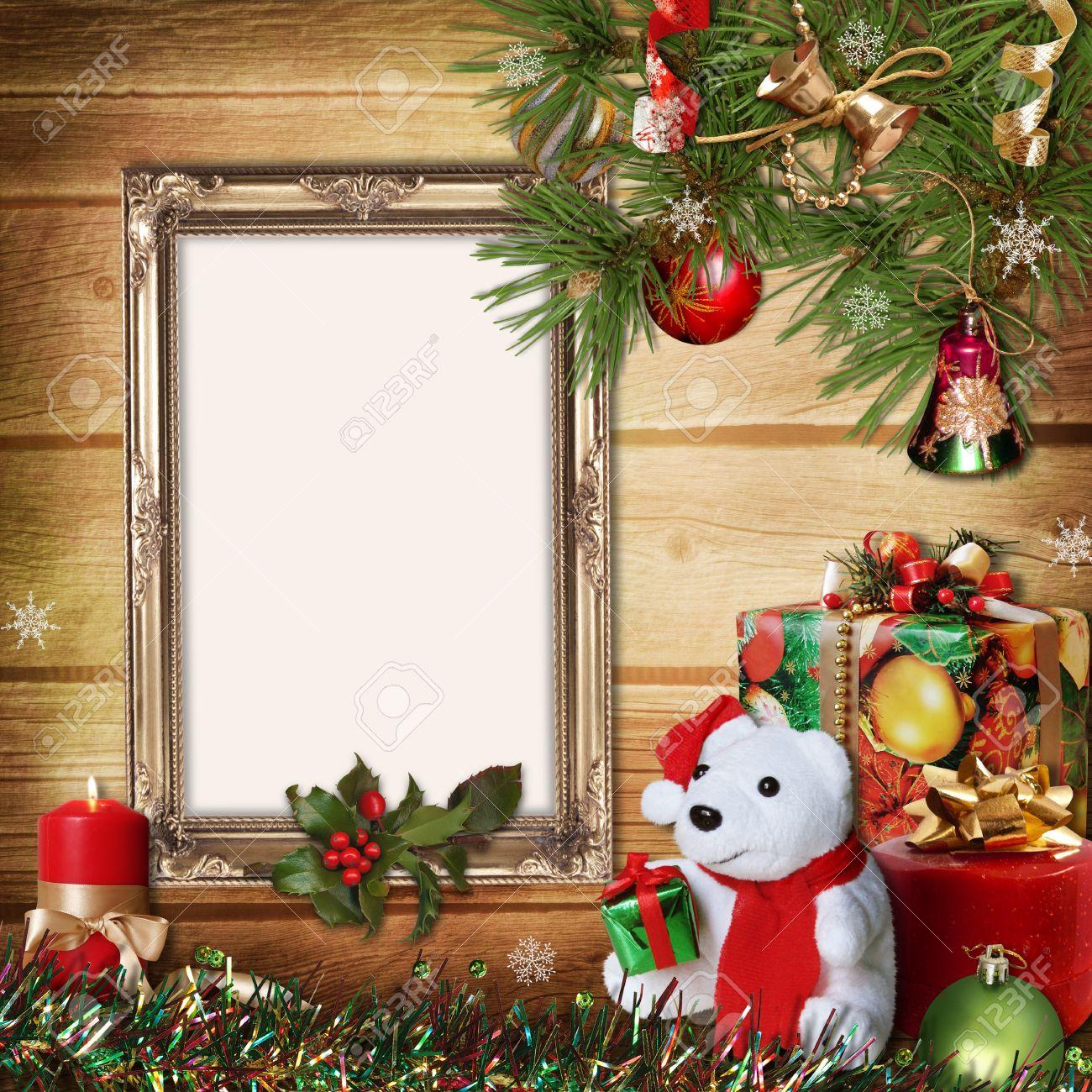 tarjeta de felicitacin de la navidad con los marcos para una familia foto de archivo