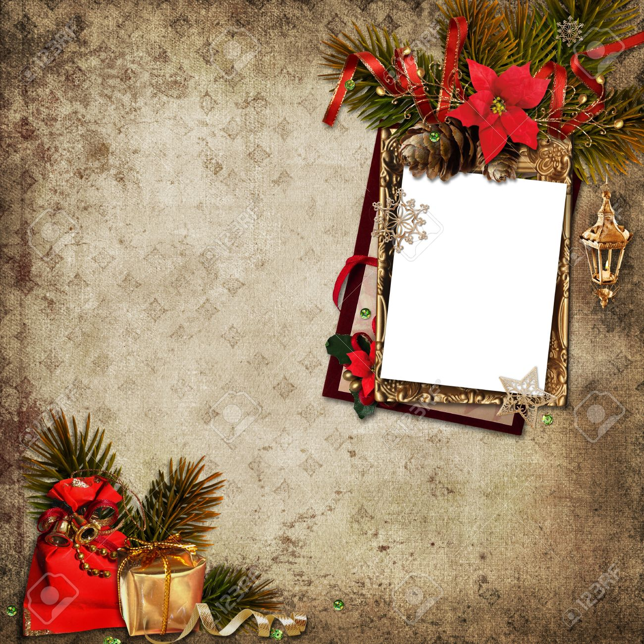 Vintage Christmas Background With Frame Stock Photo, Picture And ...