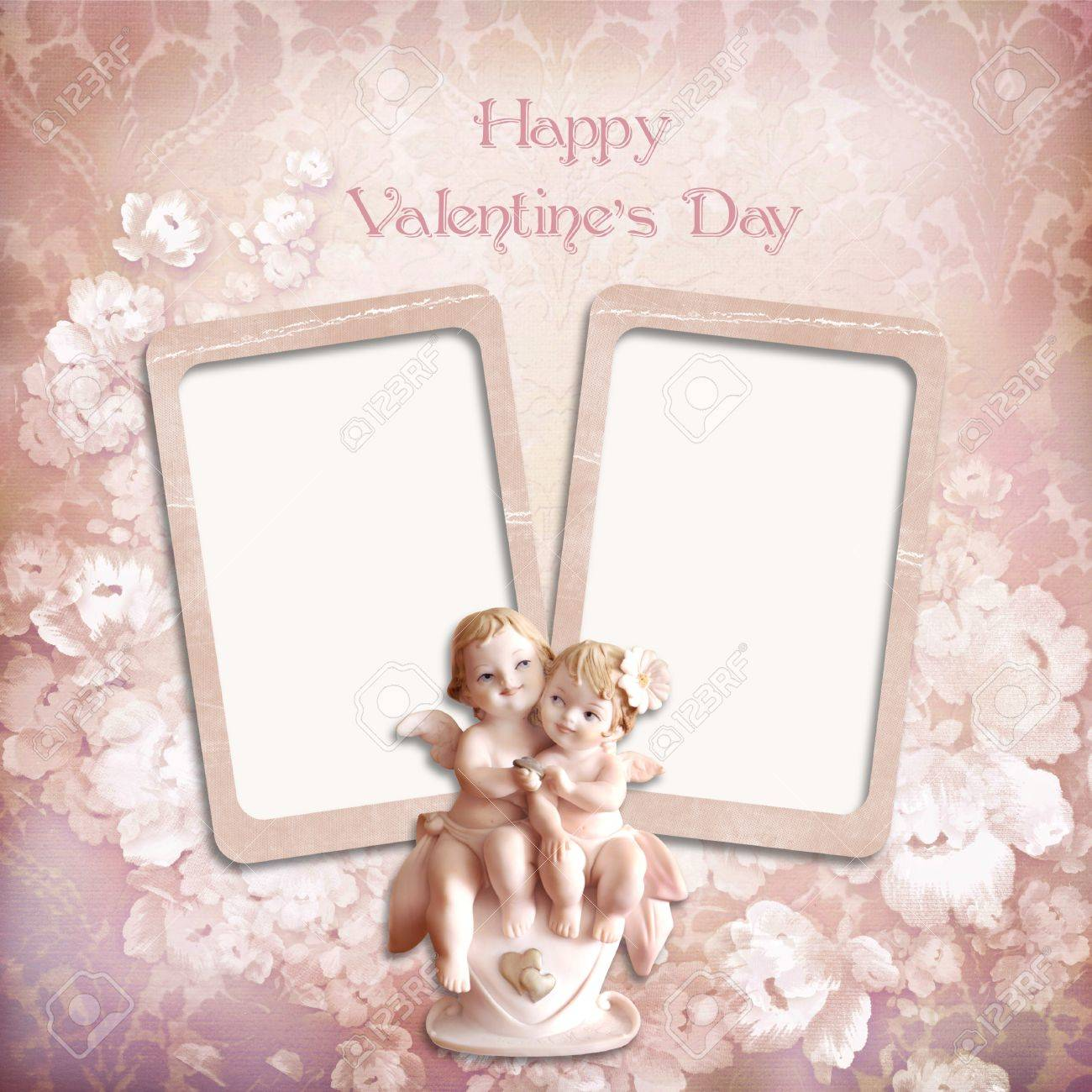 Vintage Valentine Background With Frames And Angels Stock Photo ...