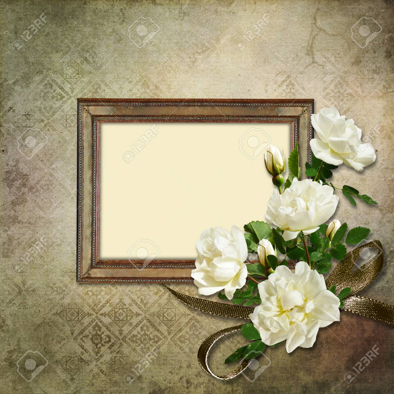 Vintage background with frame and roses Stock Photo - 17217098