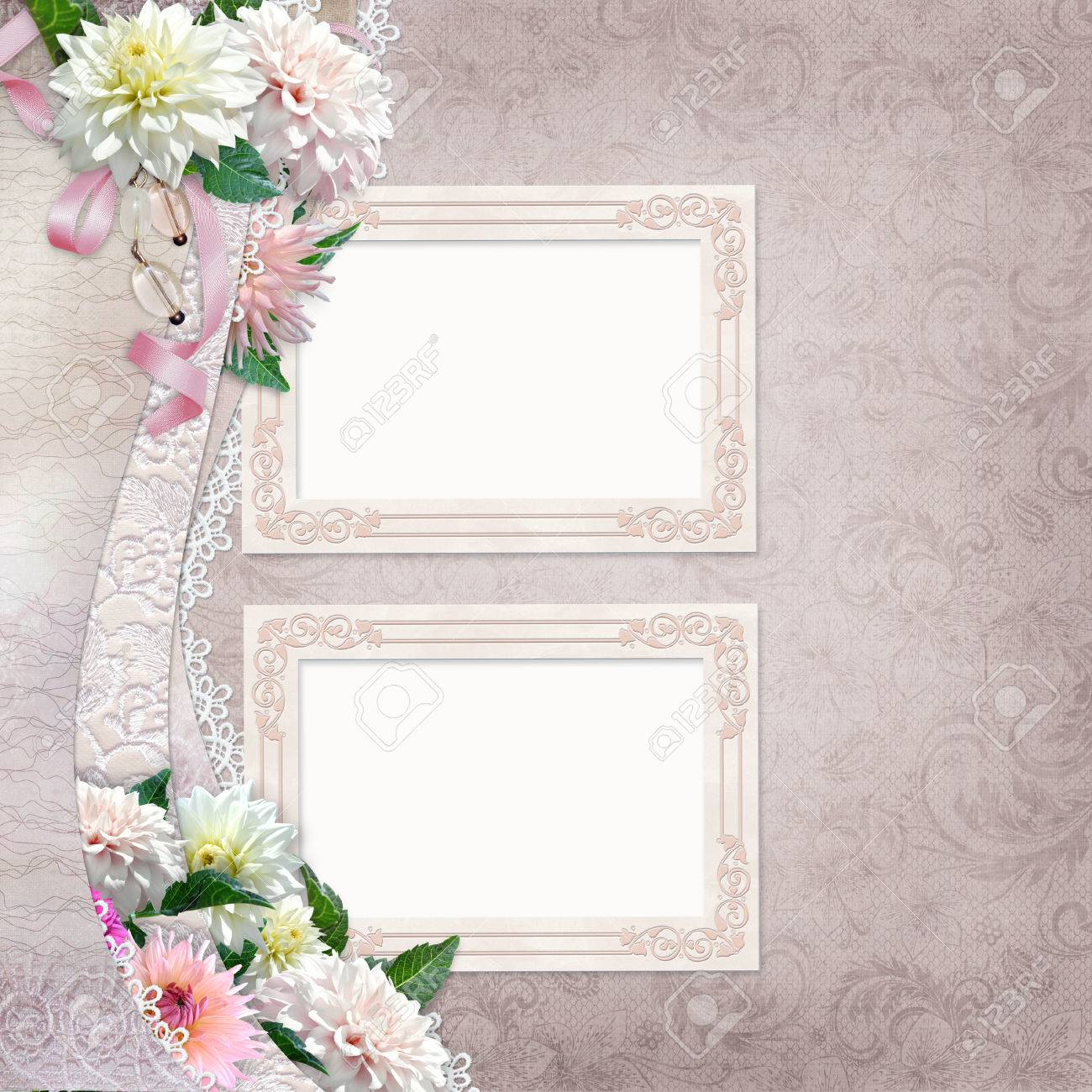 Beautiful Border With Flowers Lace And Frames On Vintage Background