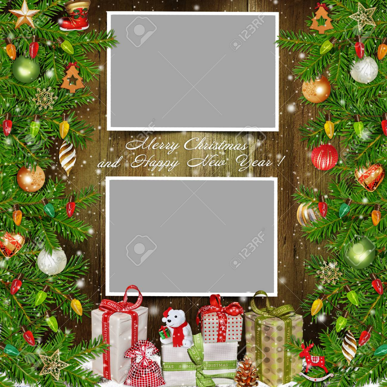 Christmas Background With Photo Frames Pine Strong Gifts And