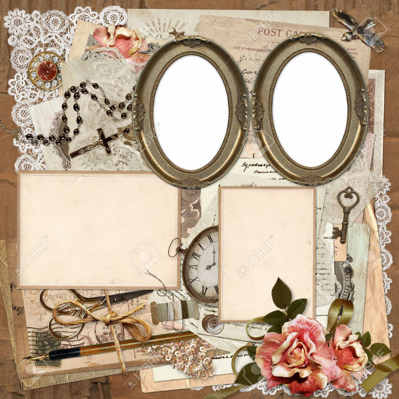 Frames Old Documents Money Vintage Decorations On A Worn