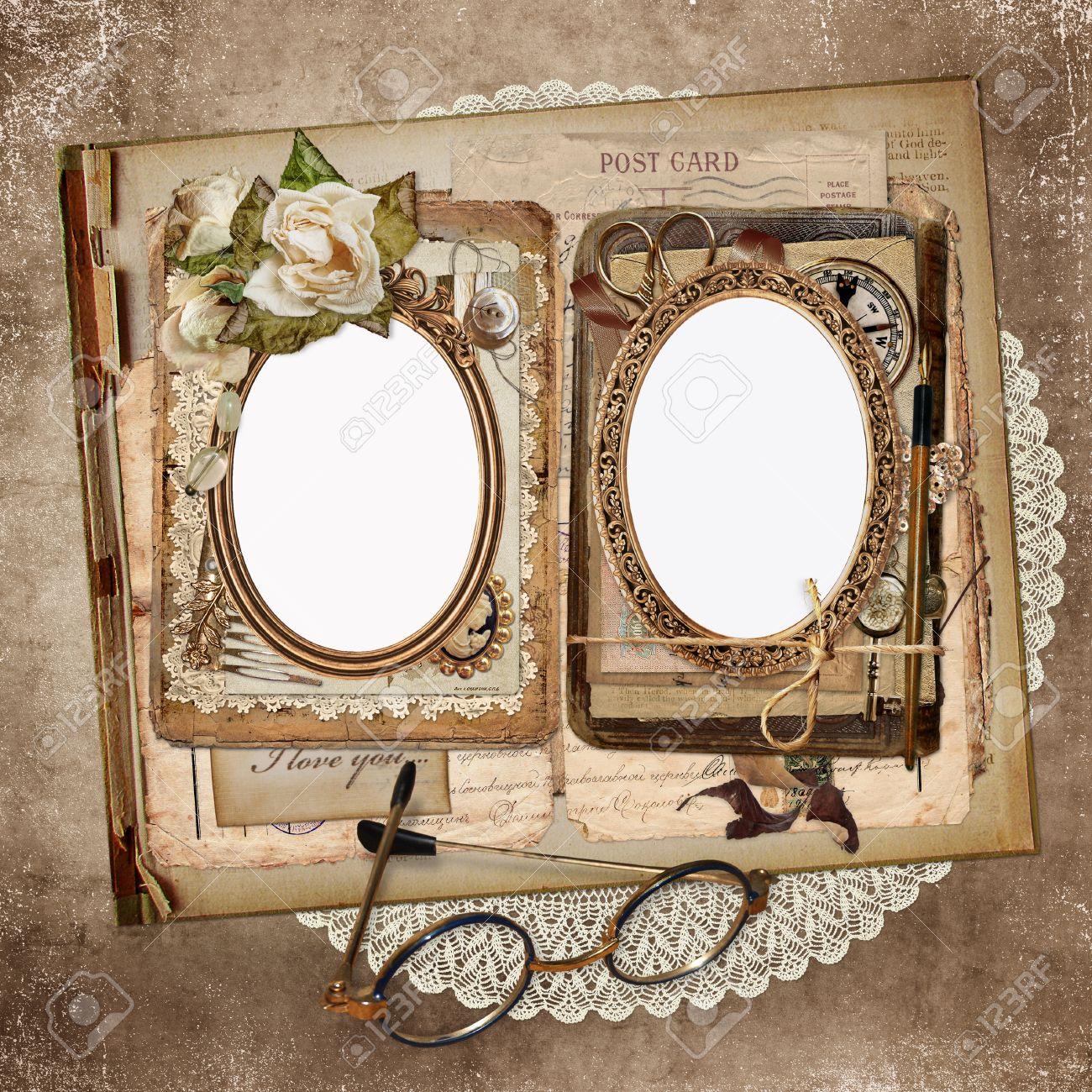Die Rahmen Für Die Fotos, Alte Briefe, Dokumente, Vintage-Schmuck ...