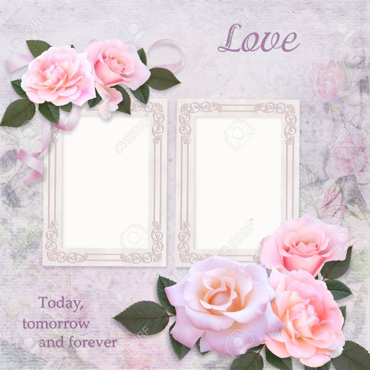 Vintage Frames And Pink Roses On A Romantic Vintage Background Stock ...