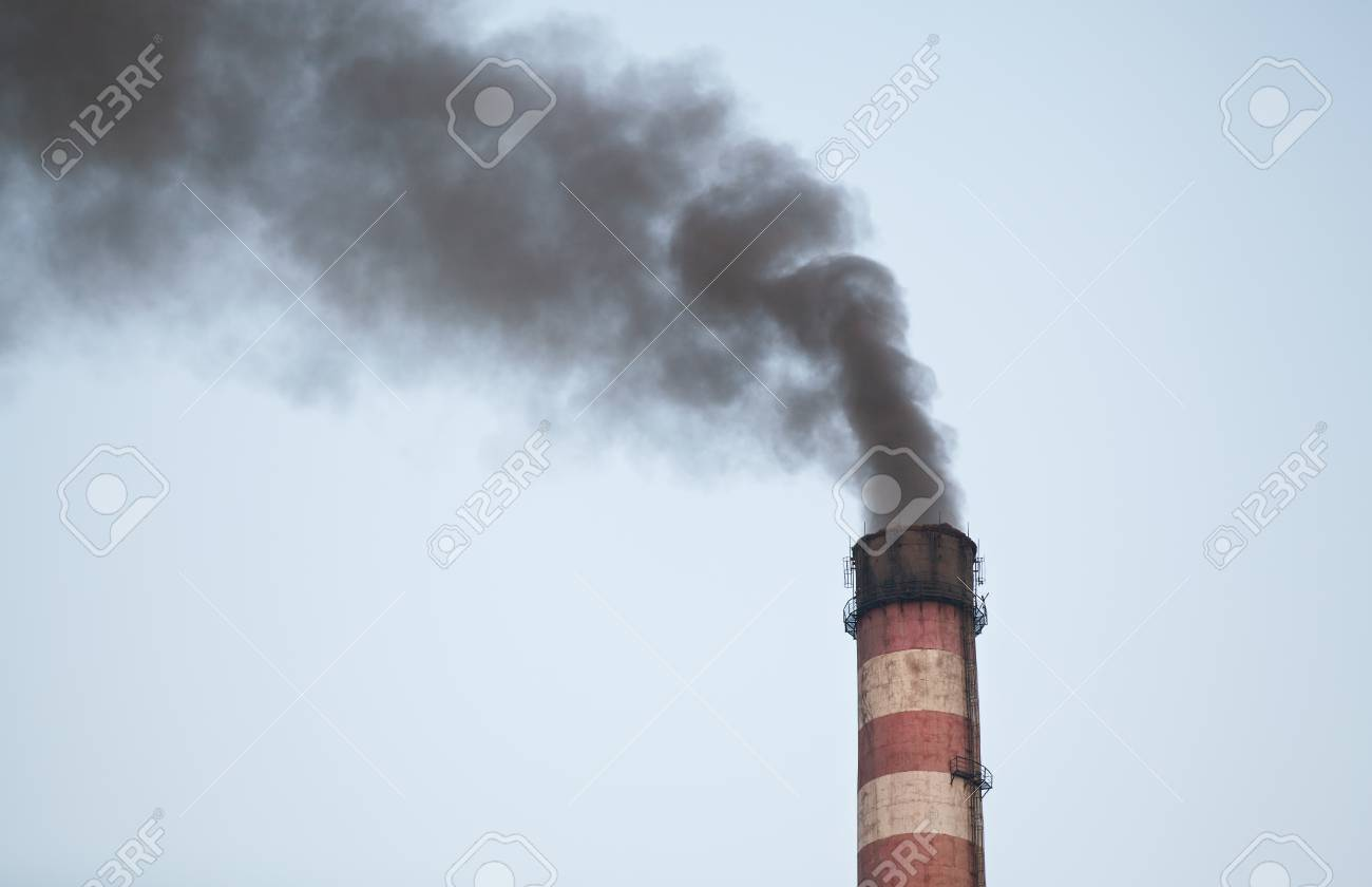 8b3f7b80 Black smoke coming from the tube of thermal power plant Stock Photo -  42424355