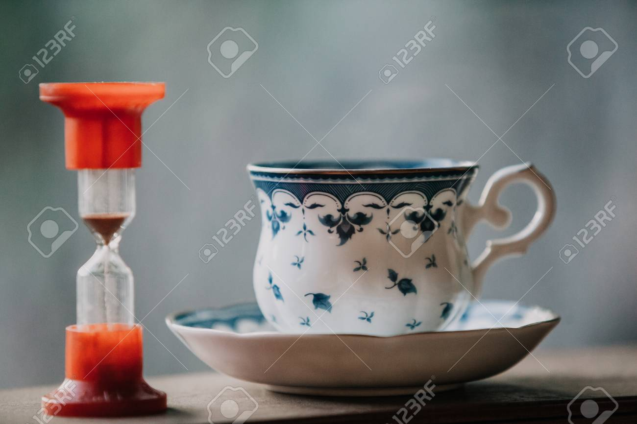 Time To Drink Tea A Neat Cup For Tea With A Blue Pattern And
