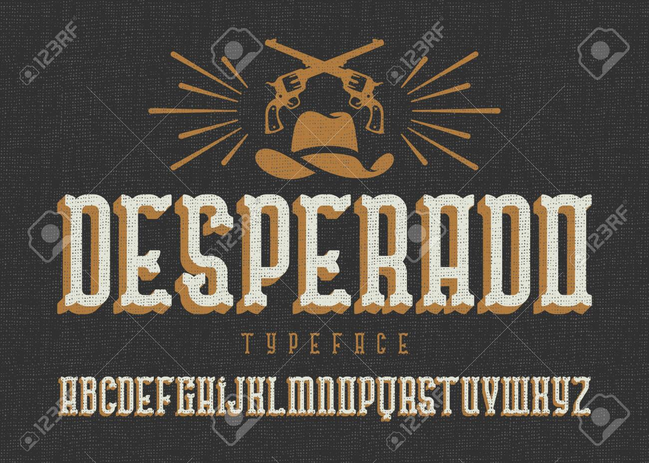 """""""Desperado"""" typeface. Wild west style font with cowboy hat and two guns. - 144479067"""