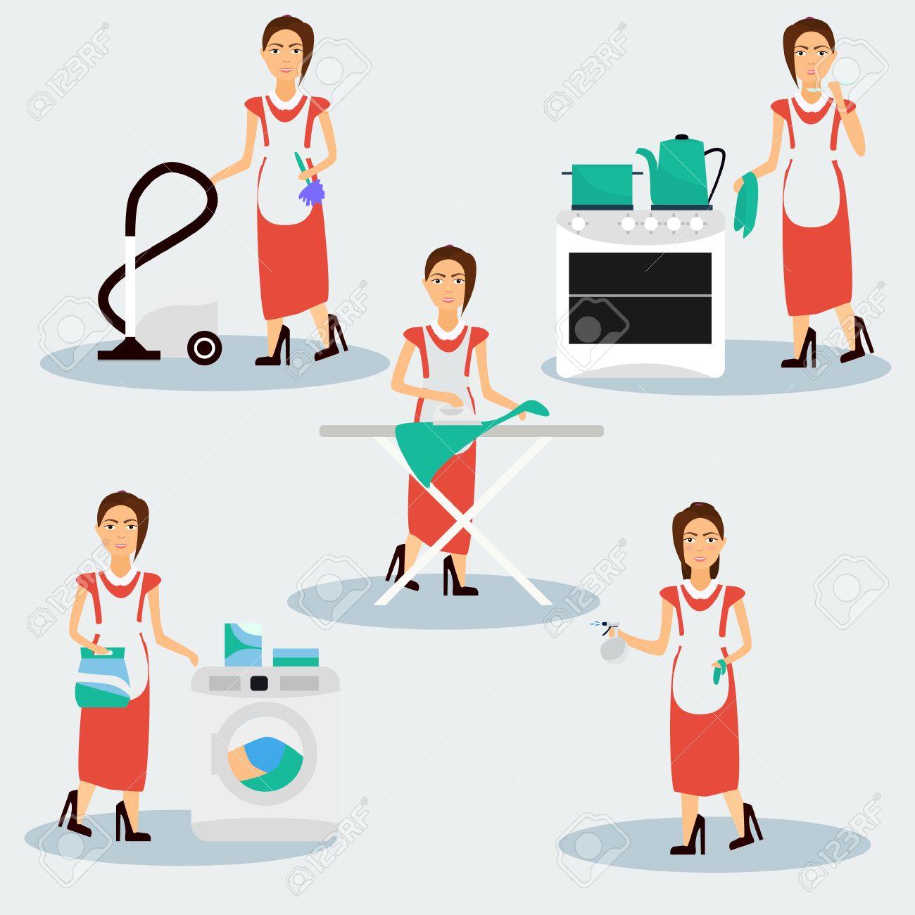 La Multitarea Housewife Ilustración Vectorial Ama De Casa Mujer De Planchar Limpiar Cocinar Y Lavar Ilustraciones Vectoriales Clip Art Vectorizado Libre De Derechos Image 62783595