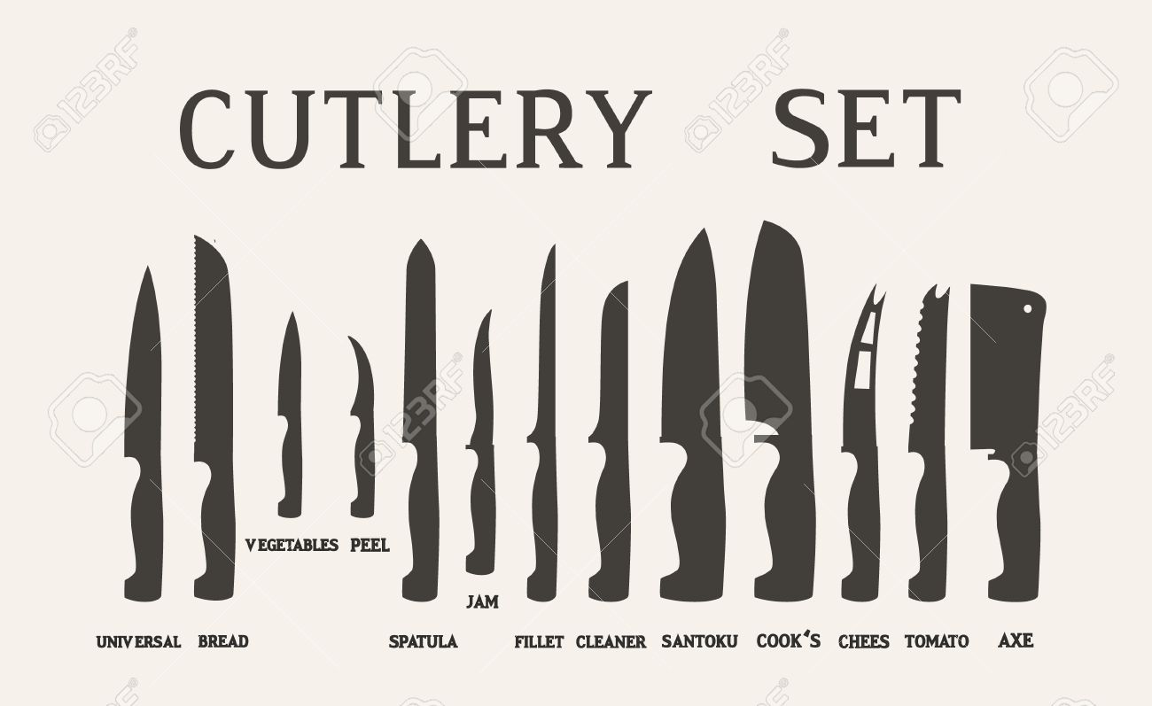 kitchen knife names.  Kitchen Full Set Flat Icons Of Kitchen Knives With Signature Names Vector Isolated  On White Background In Kitchen Knife Names
