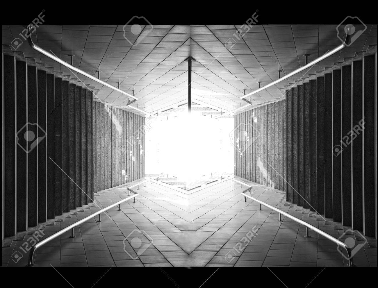 Light at the end of tunnel black and white photo stock photo 29470218
