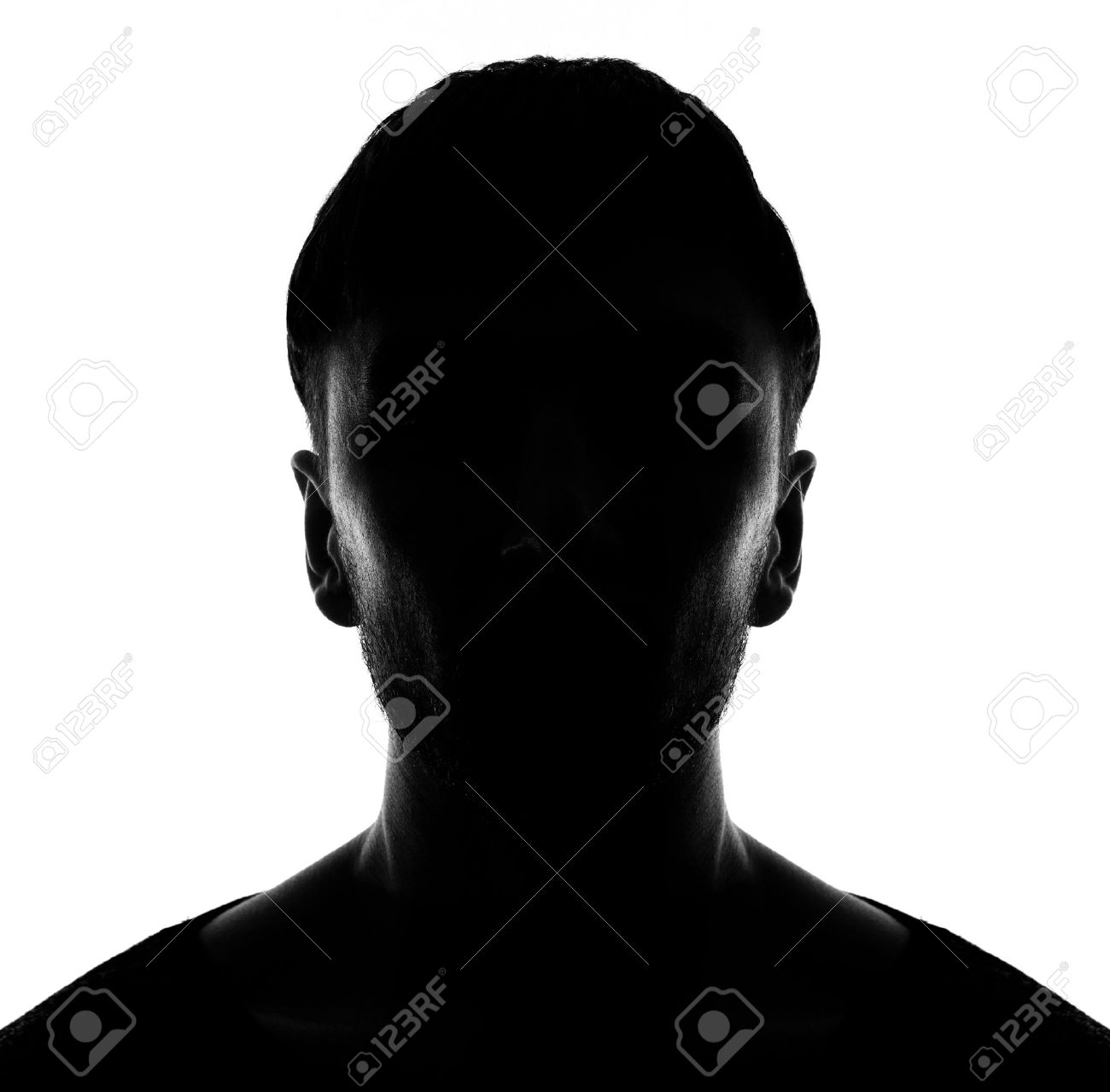 Hidden face in the shadow.male person silhouette - 58913681