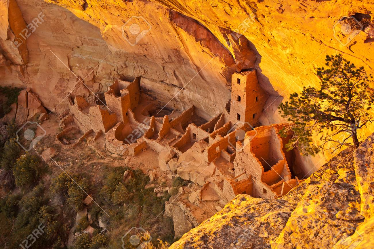 The cliff dwellings of Mesa Verde are some of the most notable and best preserved in the North American Continent. Mesa Verde National park, Colorado, USA - 104497198