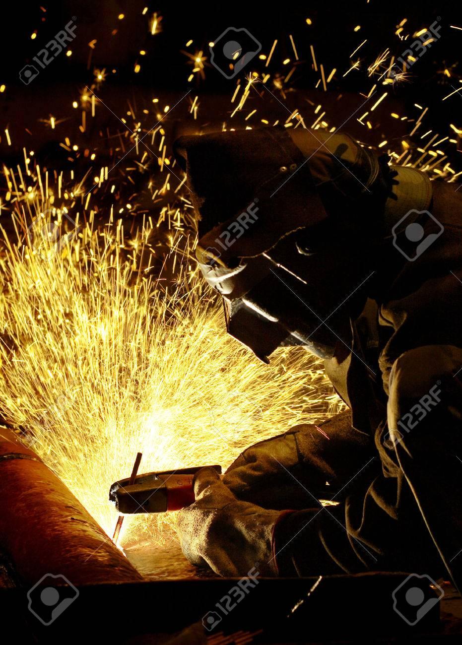 arc welder working at night Stock Photo - 1477635