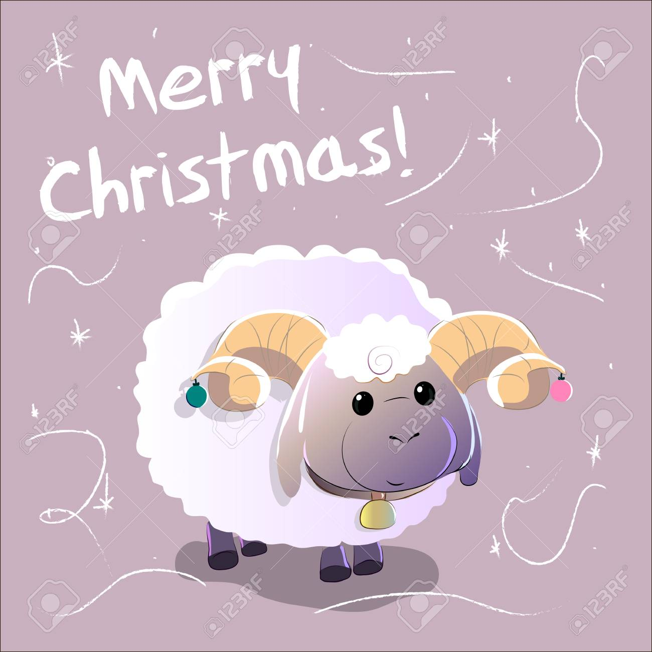 greeting card with sheep text merry christmas and happy new year hand drawn vector