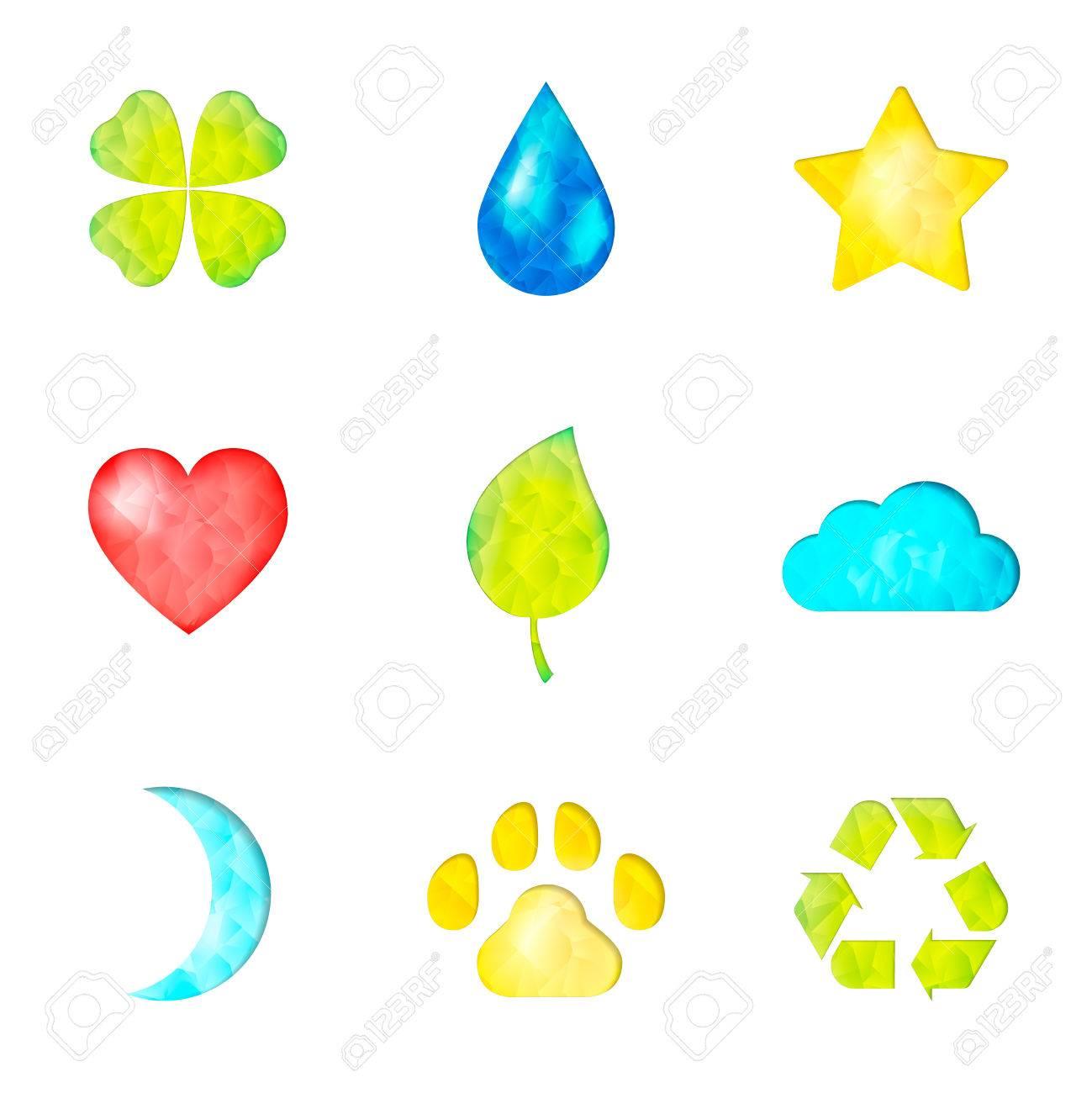 Satz Von Natur-Symbole Symbol: Klee, Wassertropfen, Stern, Herz ...