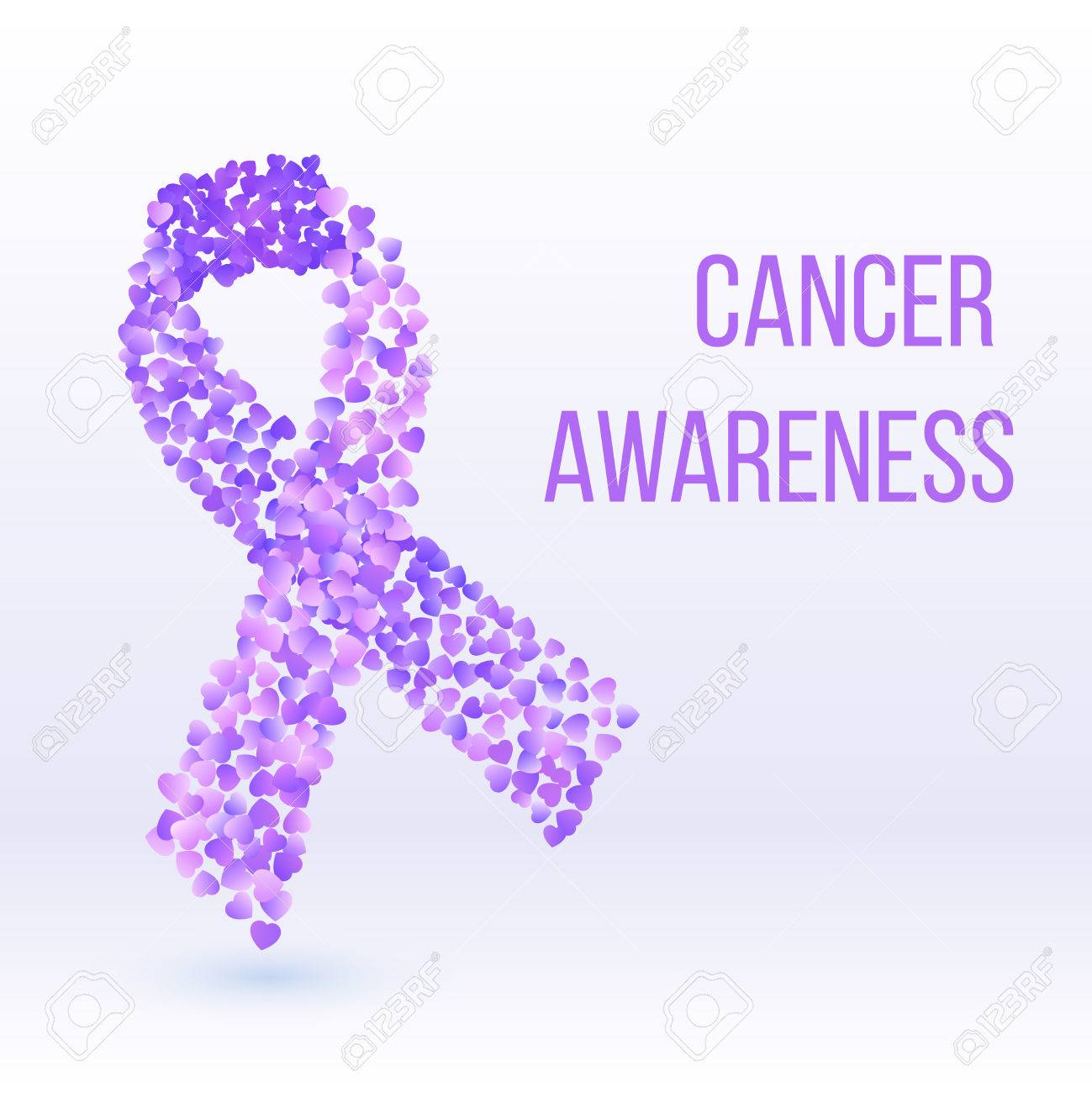 Purple Ribbon Cancer Awareness Symbol Banner Or Poster Template