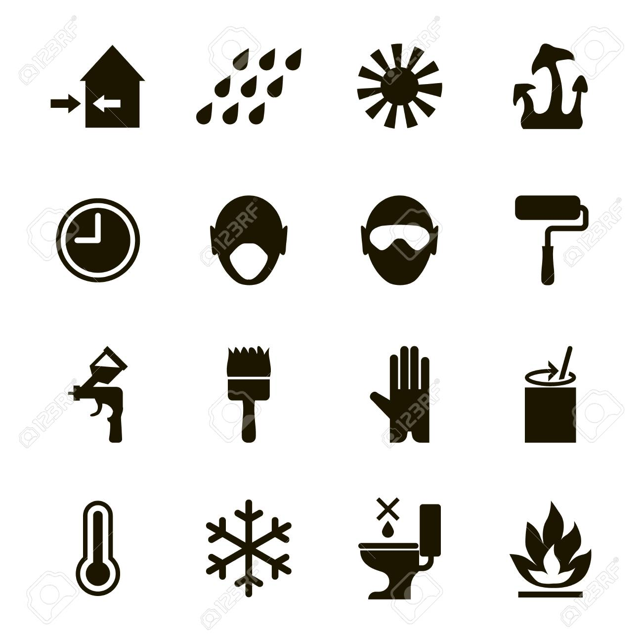 paint or enamel features and safety icons set usage health