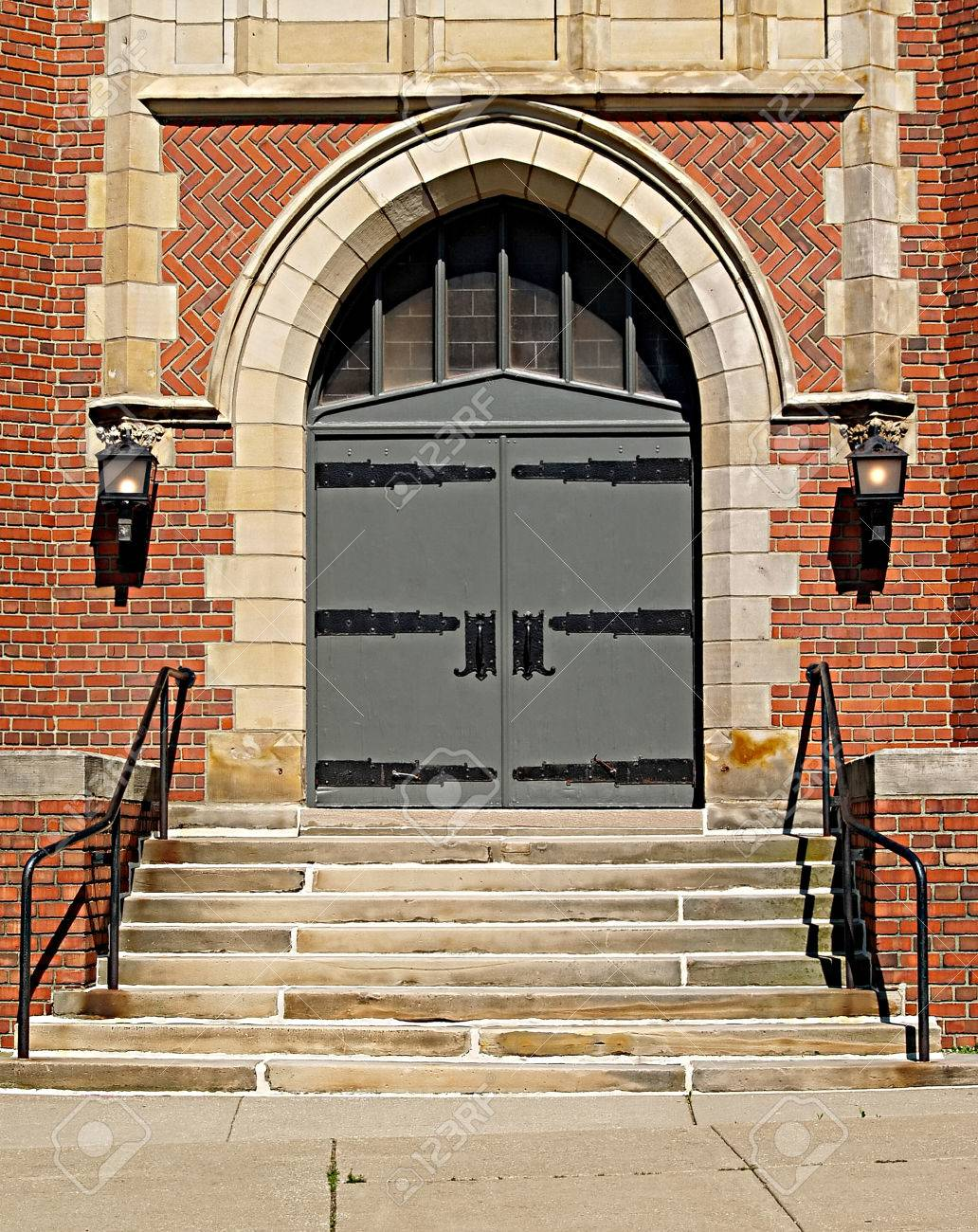 Gothic-style double doors at the front of a church in Northeastern Ohio Stock Photo & Gothic-style Double Doors At The Front Of A Church In Northeastern ... Pezcame.Com