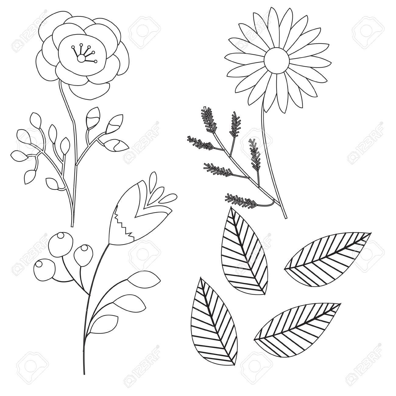 Set Doodle Drawn Flowers Isolated On White Background For Design