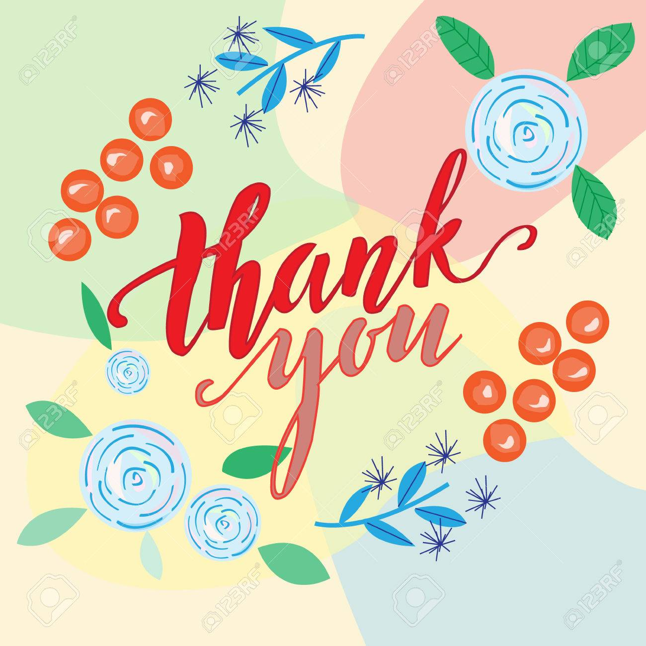 Thank You Vector Greeting Card Or Postcardhand Inscription