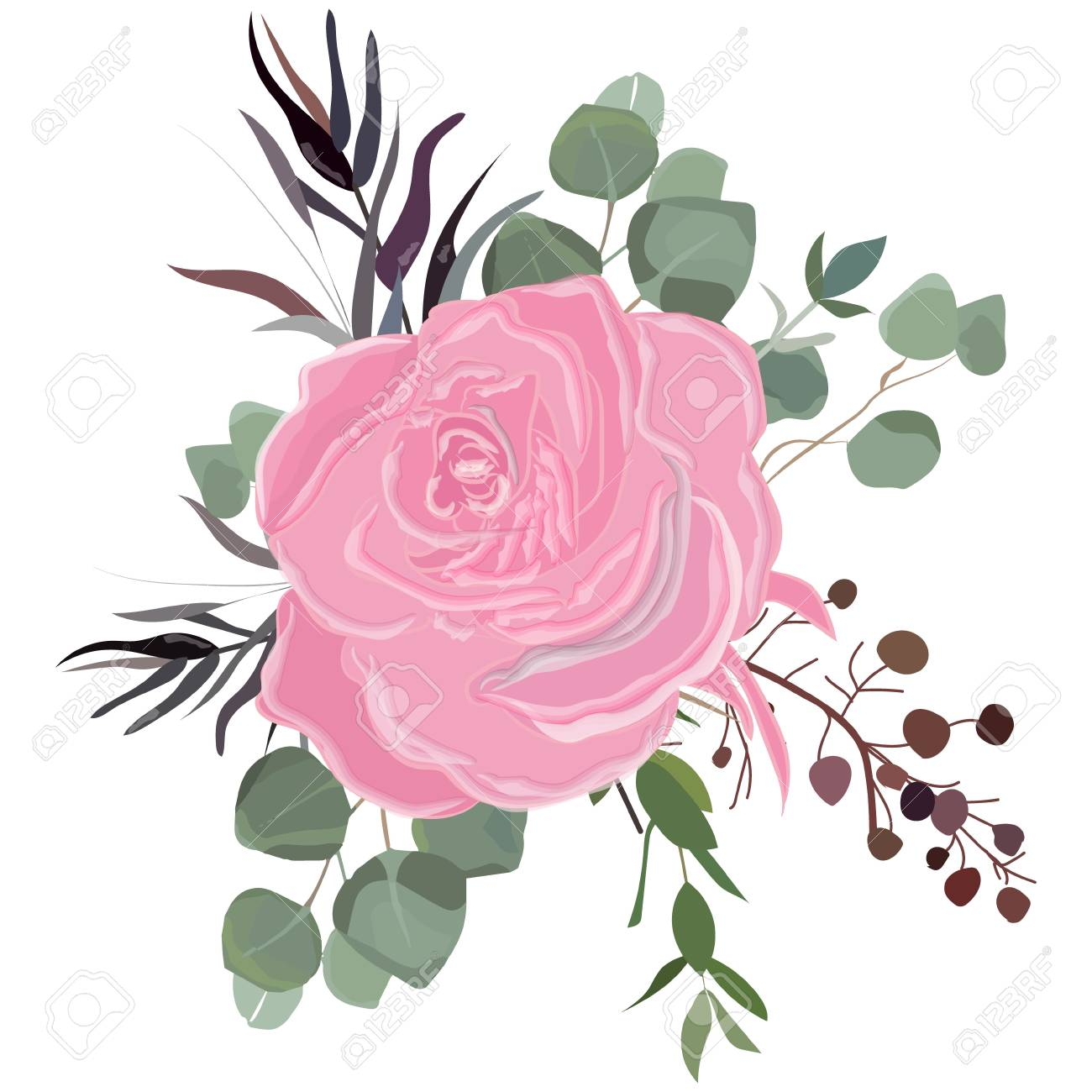Delicate bouquet for your beloved, vector illustration for wedding and anniversary cards, banners, posters and cards. - 106249096