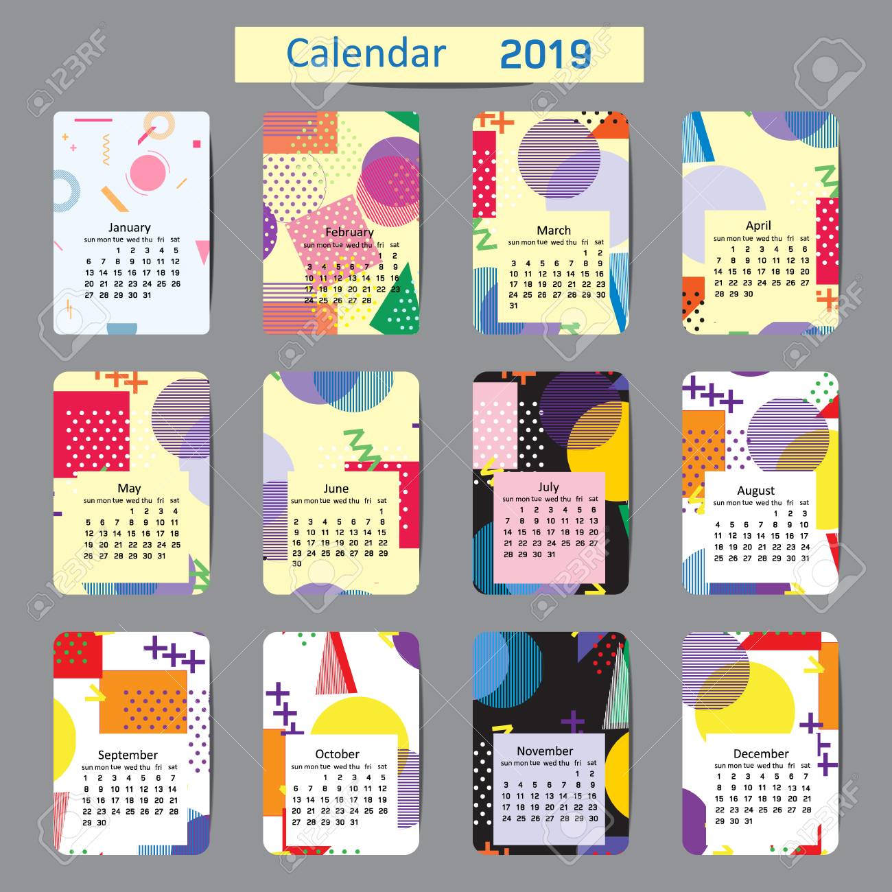 Calendar February 2019 Snake Background Cute Calendar For 2019, Original Backgrounds, Pastel Colors Vector