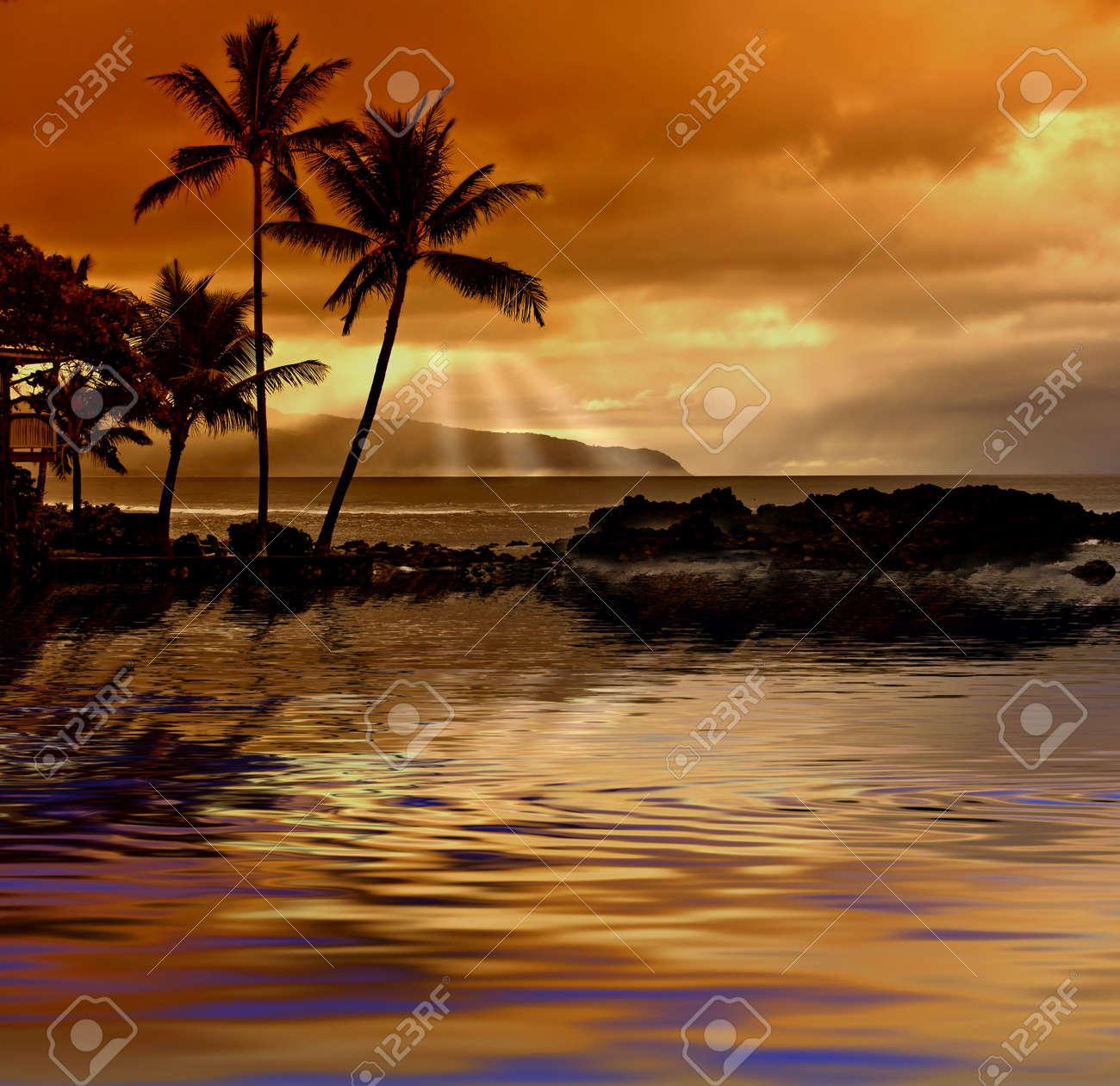 Hawaiian tropical sunset Stock Photo - 542687