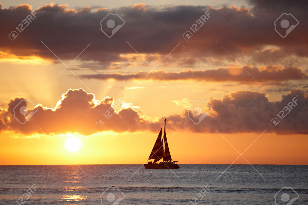 A photo of Boat, ocean and sunset - Oahu, Hawaii - 12320427