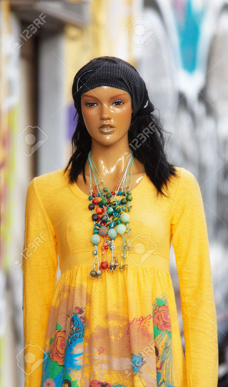 A photo of an old, colorful female mannequin Stock Photo - 17354515
