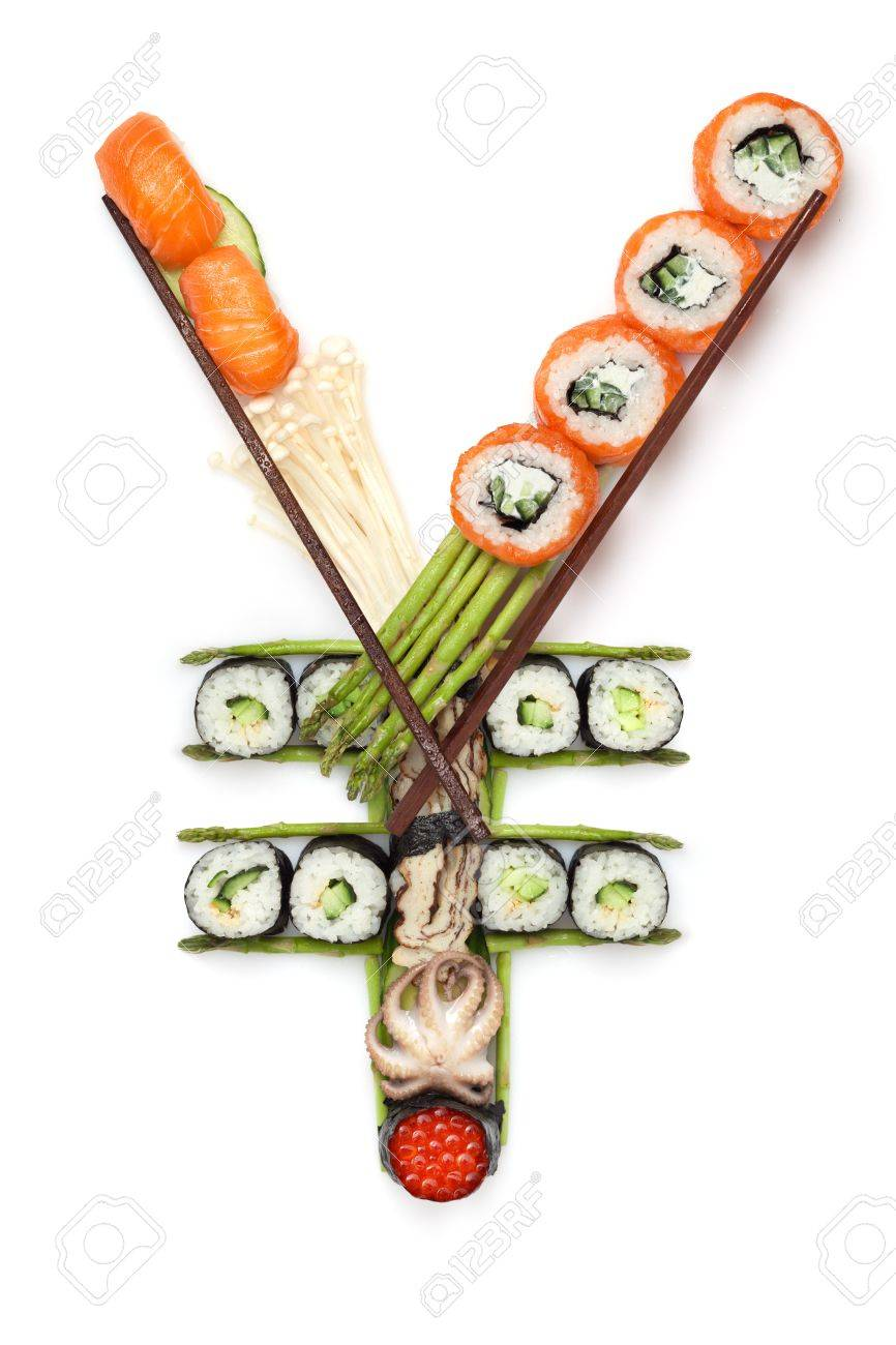 Healthy food for healthy business - A stillife of yen sign made of sushi. Stock Photo - 18666522