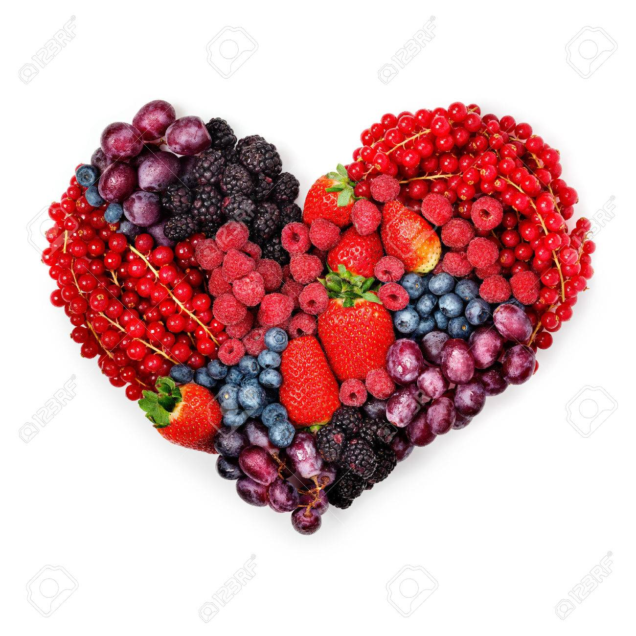 A variety of summer berries in the shape of heart as a symbol a variety of summer berries in the shape of heart as a symbol of valentine and biocorpaavc