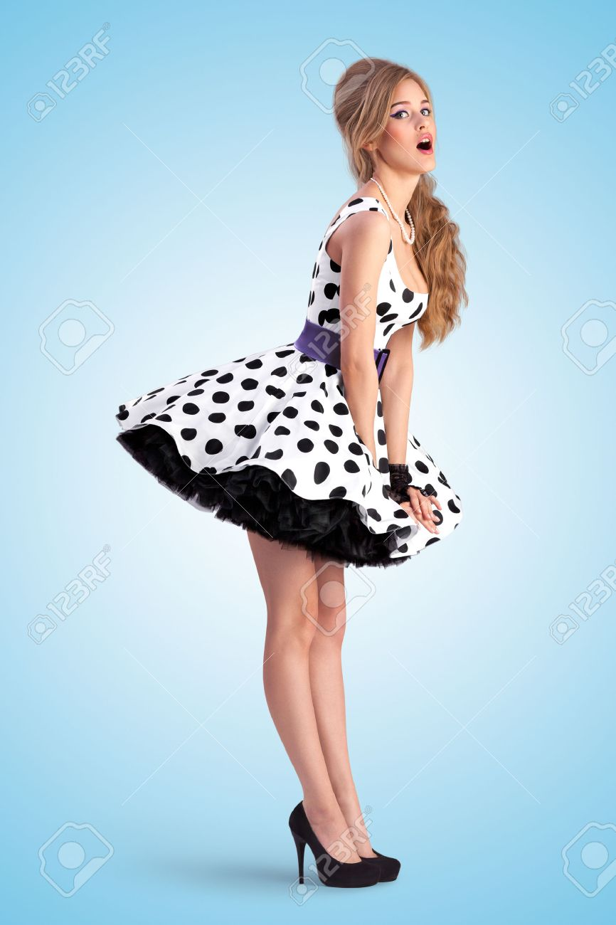 Creative Vintage Photo Of A Shy Pin-up Girl Wearing A Retro Polka ...