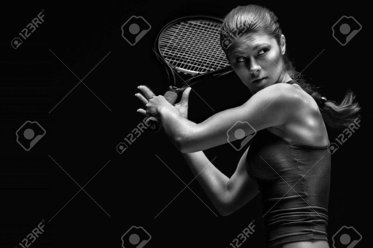 A portrait of a tennis player with a racket. - 40365813