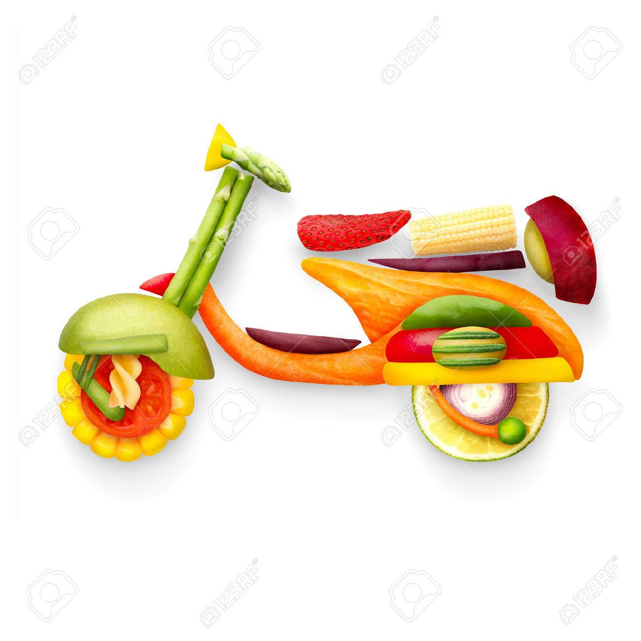 A food concept of a classic retro scooter Vespa for summer travelling made of fruits and vegs isolated on white. Stock Photo - 40402660