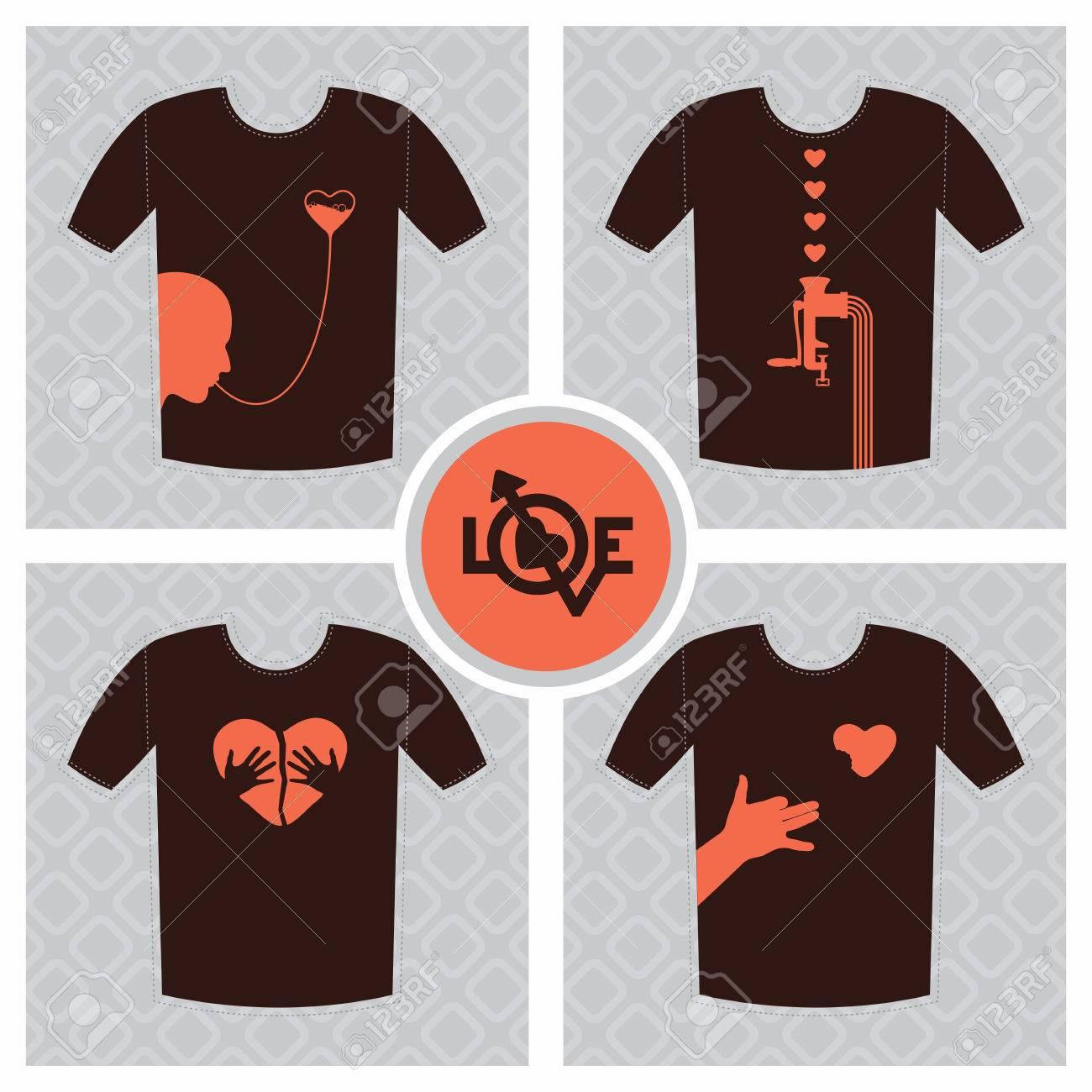 Shirt design elements - Conceptual Set Of T Shirt Print Design Elements Unrequited Love Concept With Broken Heart