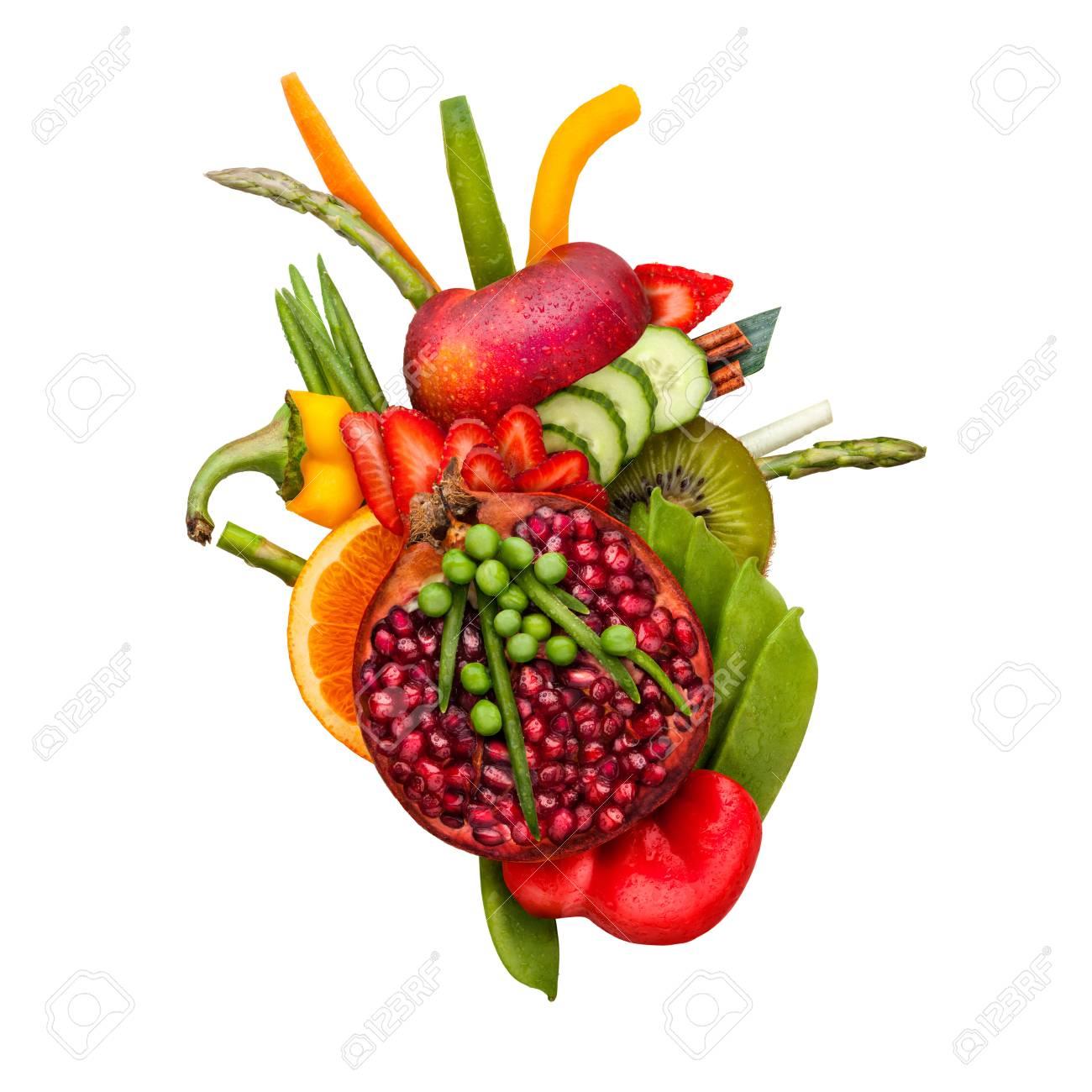 Gesunde Ernährung Konzept Eines Menschlichen Herzens Aus Früchten ...