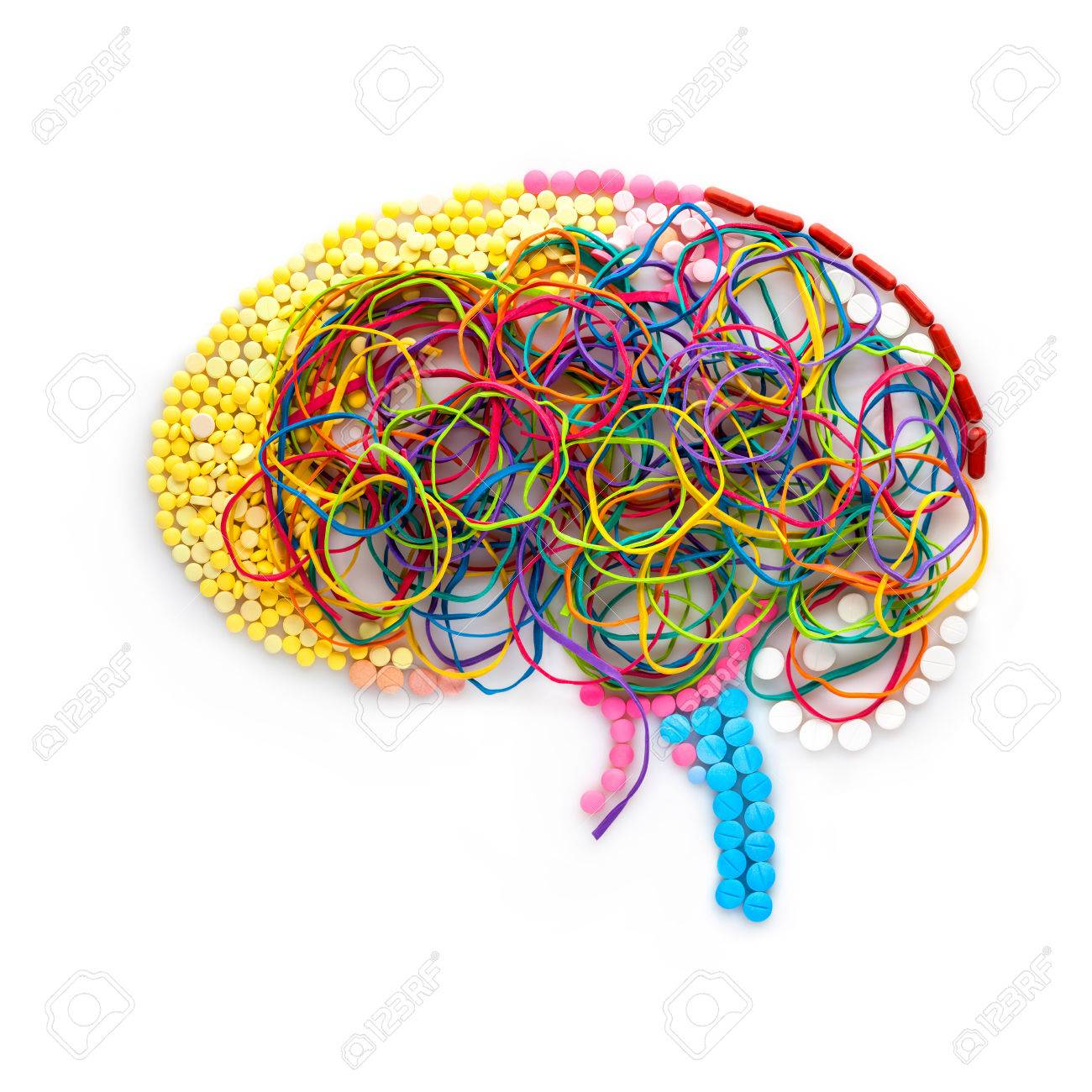 Creative concept of a human brain made of drugs, pills and colorful rubber bands as a memory illustration. - 77060597