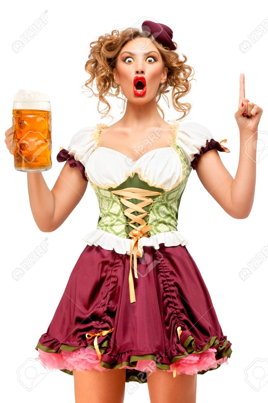 f7444dc498b1d Creative concept photo of Oktoberfest waitress wearing a traditional..