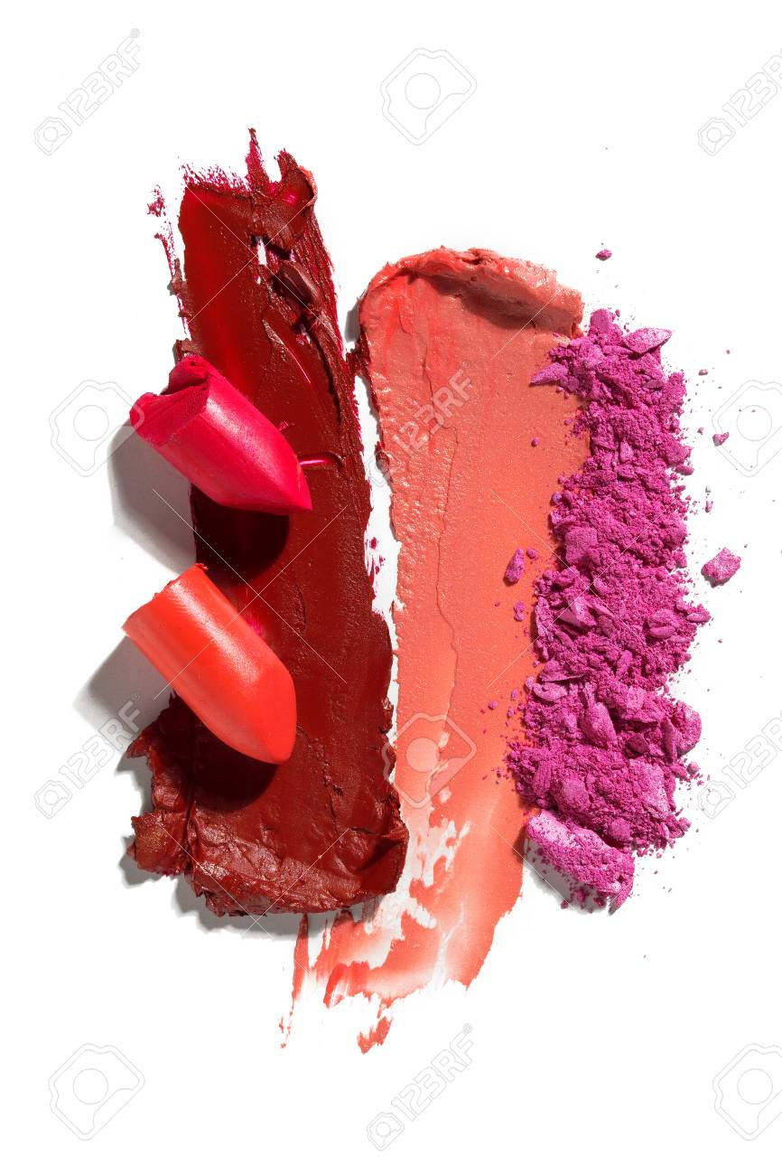 Creative concept photo of cosmetics swatches on white background. - 110125141