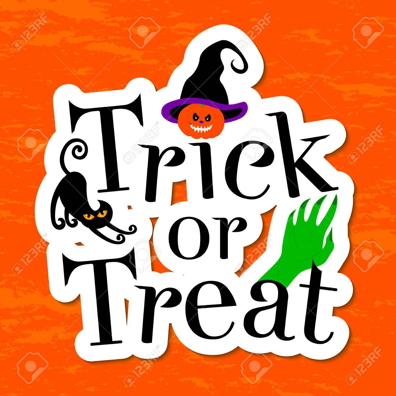 Captivating Typography Inscription Trick Or Treat. Happy Halloween Greeting Card.  Pumpkin, Witch Hat,