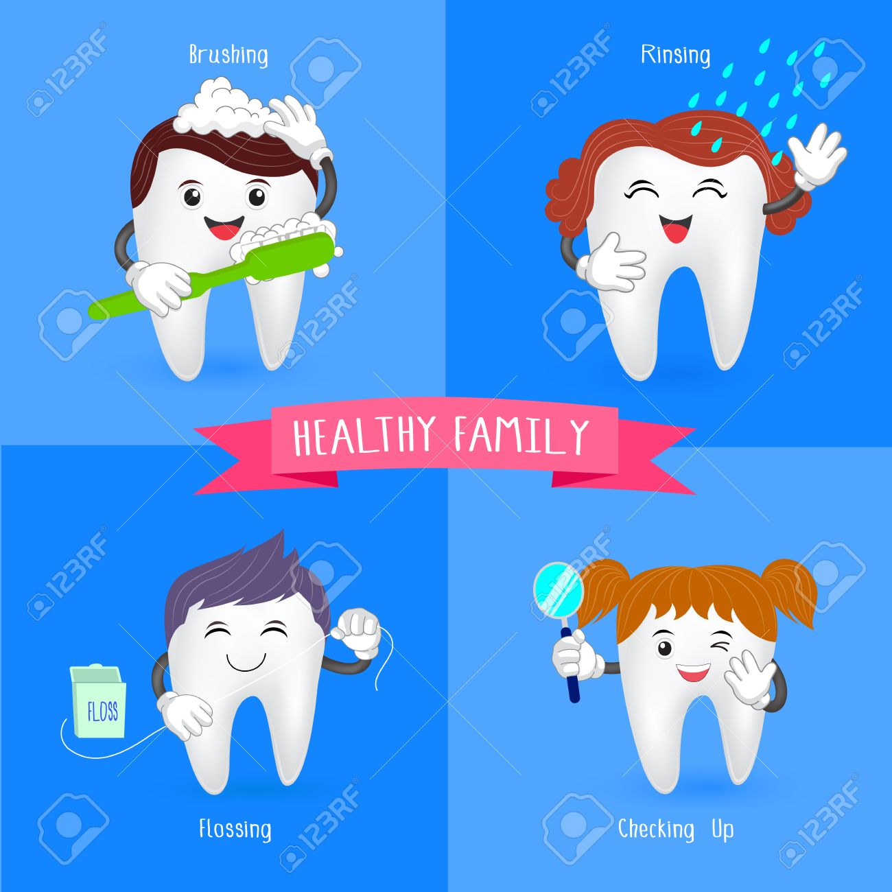 健康家族の歯。かわいい歯と口腔...