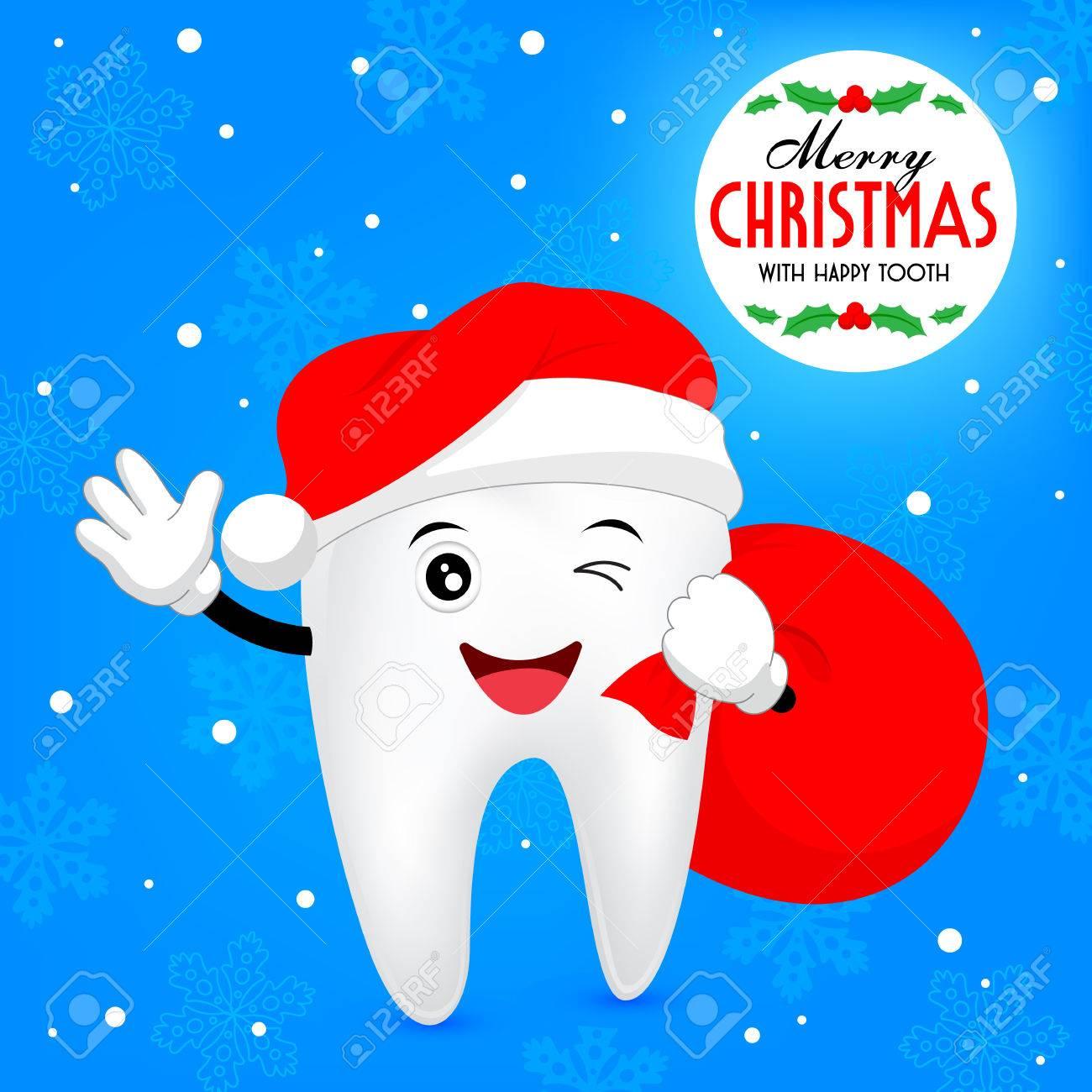 Weihnachten Zahn. Zähne Mit Sankt-Hut Und Taschen. Illustration ...
